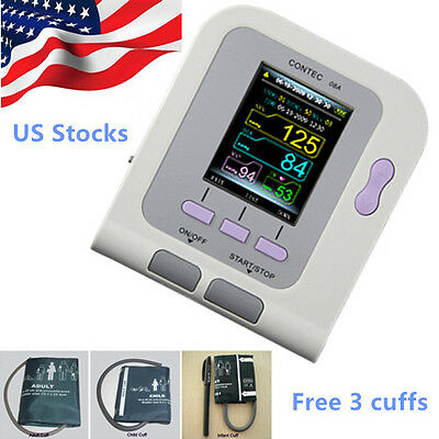 *US Stock* CONTEC08A Digital Blood Pressure Monitor w/ Adult+Child+Infant Cuffs