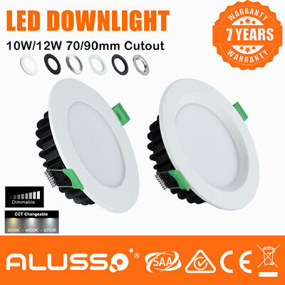 white/ Satin Chrome Dimmable 10W,13W &16W SMD LED Downlight Kit Downlights IP44