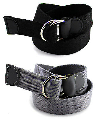 Canvas Belt Black Double D Ring Buckle Strap Webbed Military Mens Womens Grey