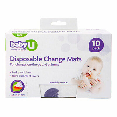 NEW Baby U Change Mats Disposable 10 Pack Nappies