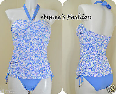 Next New Blue Mix Tie Dye Halter Swimsuit Tanksuit Swimming Costume