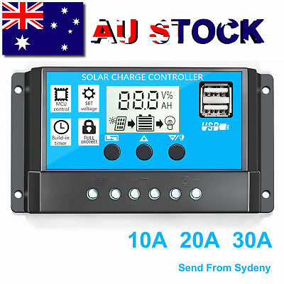 30A PWM Solar Panel Controller Battery Charge Regulator 12V/24V Auto With USB