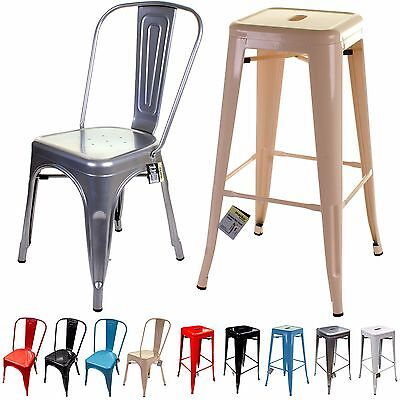 Metal Chair & Bar Stool Tolix Style French Inspired Design Classic Kitchen Seats