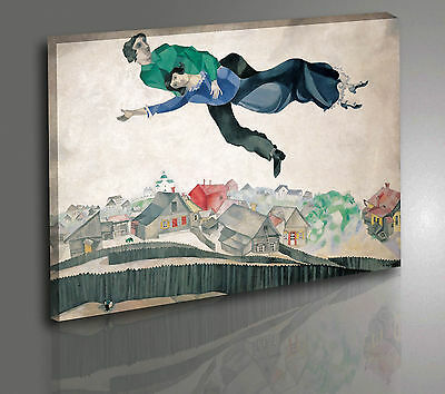 Quadro Chagall Over The Town Stampa su Tela Canvas Vernice Effetto Pennellate