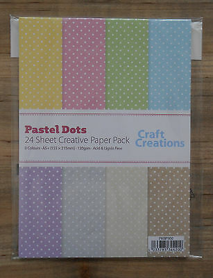 24 Sheets Assorted PASTEL DOTS 120gsm A5+ Patterned Craft Paper