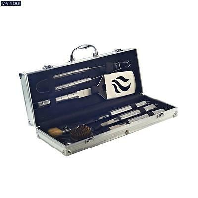 Viners 5 Piece Bbq Set With Metal Case Outdoor Cooking Barbecue Utensils New