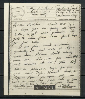US V-Mail, Battery B, 58th C A Battalion (possibly Philippines Is.) APO 248, SF
