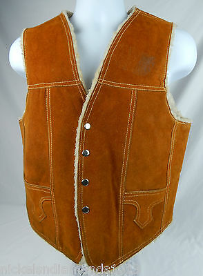 VIntage 1970 Genuine Leather / Suede Vest Sherpa Lined Mexico Men's Medium