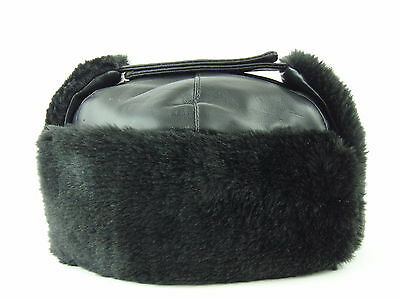 USHANKA Russian Style Winter Hat Cap - Black Faux Leather Fur Interior - Size XL