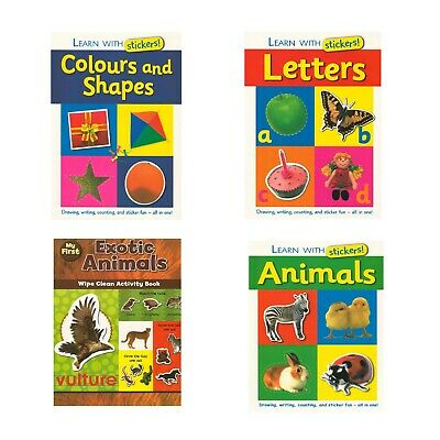 Set Of 4 Learning Books,Letters,Animal,Shapes & Exotic Animals Stickers Unise