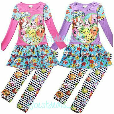 New  Kids Girls Long Sleeve Outfit Dress & Leggings Shopkins Clothes 4-10 Years