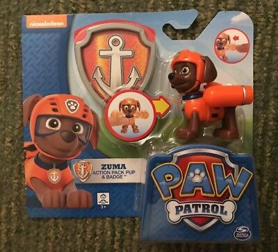 New Licensed Nickelodeon Paw Patrol Zuma Action Pack Pup & Badge Kids Gift Toy