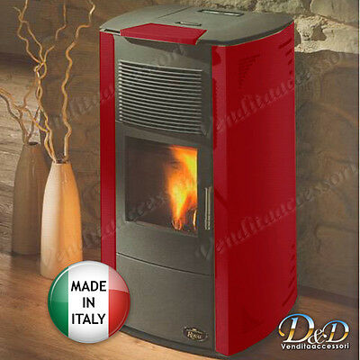 STUFA A PELLET Royal Palazzetti 8,5 kw VANITY rossa con focolare in ghisa