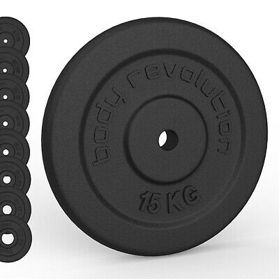 "Cast Iron Weights Plates 1"" Discs for Dumbbells Barbells - Sets Individuals 25mm"