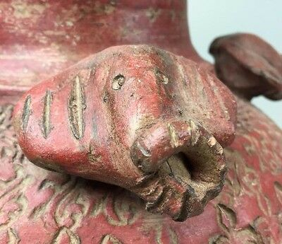 PRIMITIVE HEAVY Red Terracotta Pair Urns Elephant Design OLD HAND CARVED DETAIL