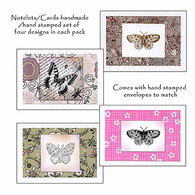 Set of 4 Notelets/Cards, Hand Stamped,Hand Made, birthdays etc - Butterflydesign
