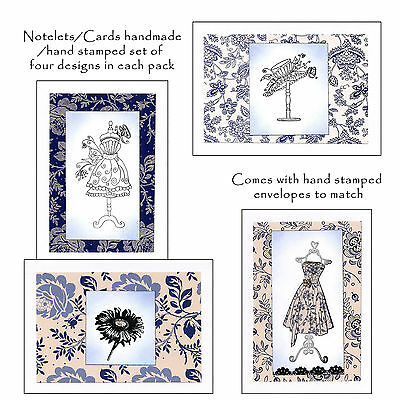 Set of 4 Notelets/Cards, Hand Stamped,Hand Made, birthdays etc - Fashion design