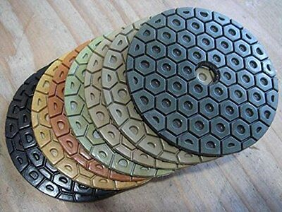 7 Inch Diamond Polishing Pads 6 Piece Set WET/DRY Granite Concrete Stone Marble