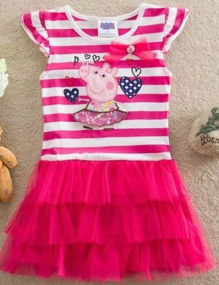 NWT Girls Peppa Pig Rugby Strips Pink Tulle Party Dress Size 2T TWO LEFT!