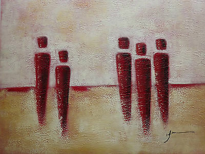 abstract red orange people large oil painting canvas original modern men figures