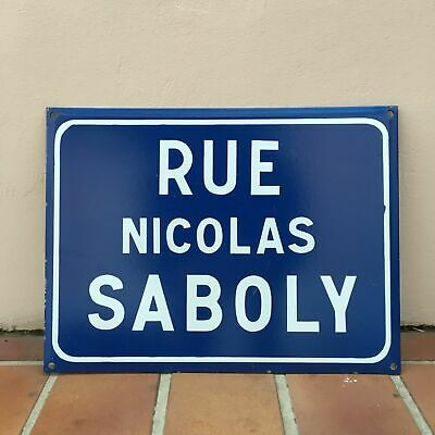 Old French Street Enameled Sign Plaque - vintage NICOLAS SABOLY