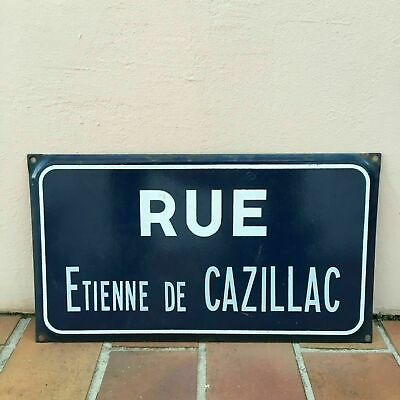 Old French Street Enameled Sign Plaque - vintage EMILE DE CAZILLAC