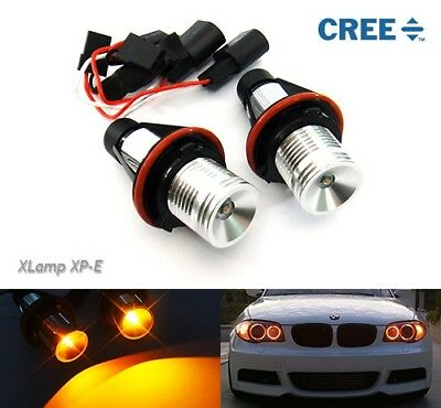 2x BMW Angel Eyes Halo Ring CREE LED Light Marker Bulb 10W Canbus No Error Amber