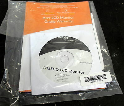 Acer Lcd Monitor G195Hq Sealed Cd-Rom / Warranty & User Guide As New