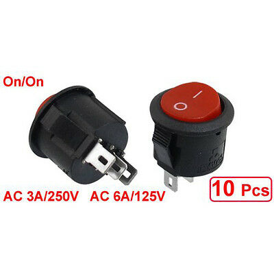 10 pcs SPDT Black Red Button On/On Round Rocker Switch AC 6A/125V 3A/250V D2M