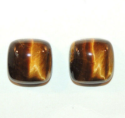 Tiger's Eye 13.5x13.5mm with 7mm dome Cabochons Set of 2 From Africa (9789)