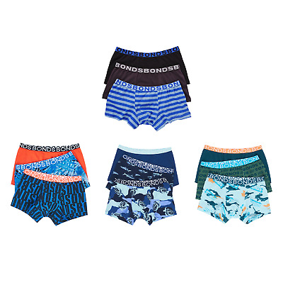 Boys Bonds Underwear 3 Pack Trunks Boyleg Shorts Any Size 2 3 4 6 8 10 12 14 16