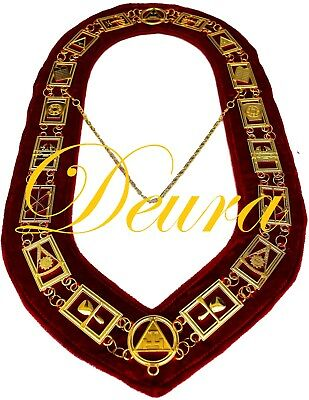 Royal Arch Masonic Collar Regalia RED Backing York Rite DMR-300GR