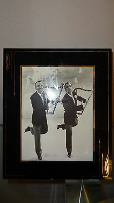 Reverse Painted Deco Picture Frame Black Silver Excellent Astaire Kelley Photo