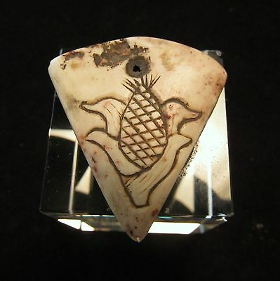 Pre-Columbian Aztec Carved Stone Pendant W/ Glyphs ~ From a private collection! • CAD $315.00