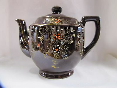 Antique Teapot Japan Decorative Hand Painted Floral Dotted Design 1930s