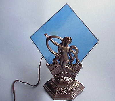 Antique Deco / Art Nouveau Nude Lady Accent Lamp w Stained Glass. NICE