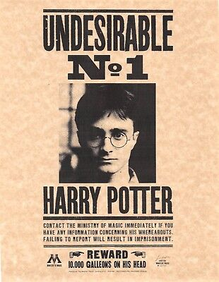 Harry Potter Undesirable Number 1 Wanted Poster Flyer/Poster Prop/Replica