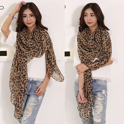 New Women Fashion Long Leopard Print Soft Chiffon Shawl Scarf Scarves Wrap Stole