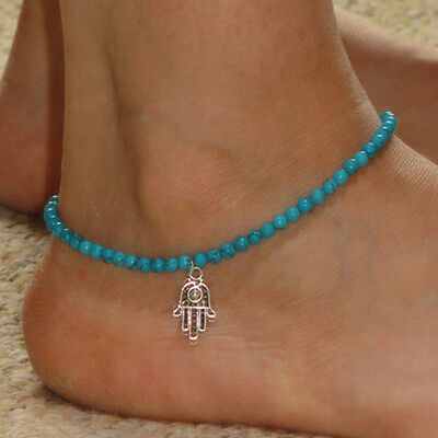 1pc Turquoise Beaded Infinity Chain Ankle Charm Bracelet Foot Jewelry Anklet