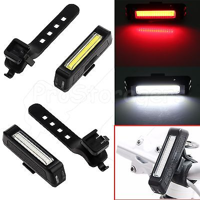 USB Rechargeable COB Bicycle Bike Front Rear 6 Modes LED Tail Light Waterproof