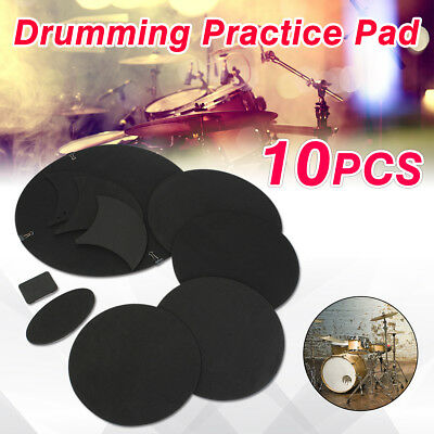 10Pcs Bass Snare Drums Soundoff/ Quiet Mute Silencer Drumming Practice Pad Set