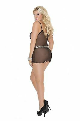 Elegant Moments Fishnet Mini Dress Plus Size Black