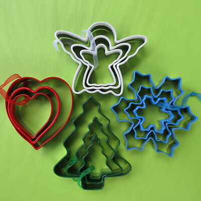 Angel, Snowflake & Christmas Tree set of 3 cookie cutter Tin