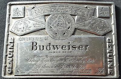 Vintage Budweiser Beer Label Belt Buckle from Lewis Buckles Chicago
