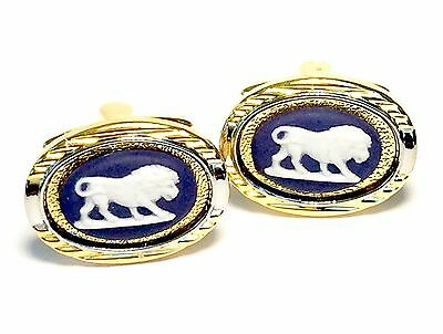 Wedgwood Jewelry: Gold-Plated Navy Blue & White Jasper Cameo Cufflinks