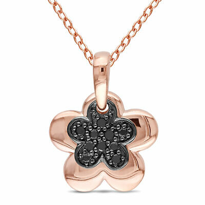 Pink Sterling Silver 1/10 Ct TDW Black Diamond Flower Pendant Necklace 18""
