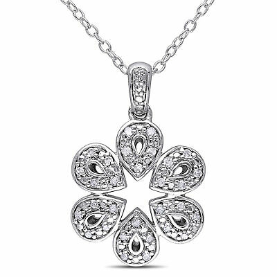 """Amour Sterling Silver 1/6 Ct TDW Diamond Flower Pendant Necklace H-I I2-I3 18"""""""