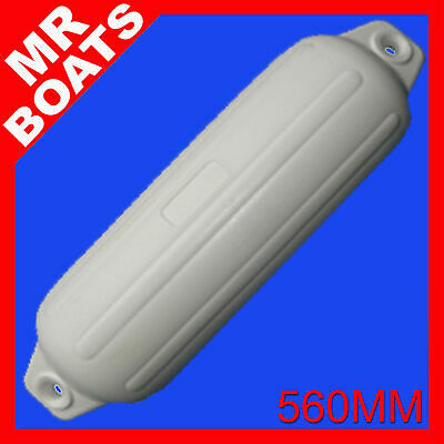 1 x 560mm INFLATABLE RIBBED BOAT FENDER BUFFER - TWIN EYE WHITE MOORING GUARDS