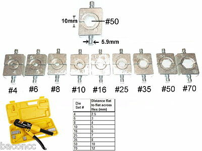 Hydraulic Crimper Crimp Cable Lug Swage Swaging Tool 10 8 Ton Replacement Dies