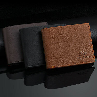 Luxury Mens Leather Wallet Card Holder Coin Purse Pockets Bifold Money Wallet